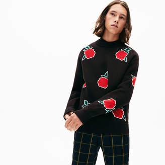 Lacoste Men's LIVE Jacquard-Rose Cotton Sweater