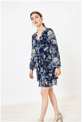 Oasis TASHA FLORAL PLEAT SKATER IN NAVY
