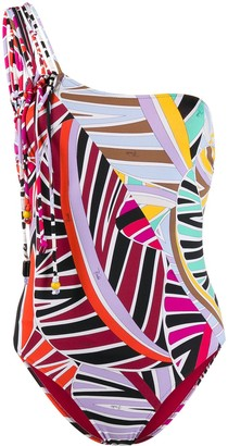 Emilio Pucci Graphic-Print One-Shoulder Swimsuit