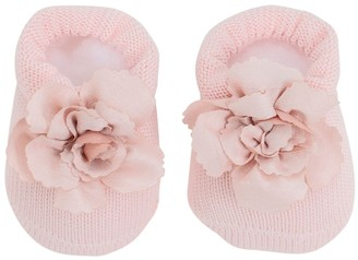 La Perla Cotton Knit Socks W/ Flower Appliques