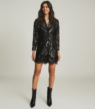 Reiss KAYA METALLIC FLORAL LACE DRESS Silver