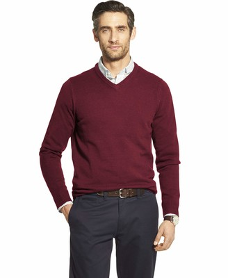 Izod Men's Premium Essentials Solid V-Neck 7 Gauge Sweater