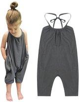 Chinatera Little Girls Kids Halter Romper Harem Pants One-Piece Jumpsuit Cotton (2-3Y, )
