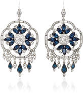 Ben-Amun Ben Amun Silver-Tone Crystal and Sapphire Earrings