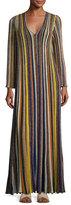 Missoni Metallic-Striped Long-Sleeve Gown, Multi