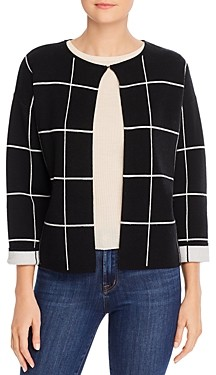 Sioni Windowpane Plaid Open Cardigan