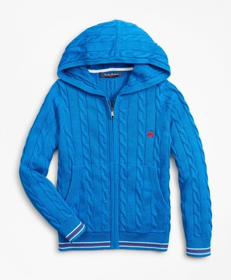 Brooks Brothers Boys Cotton Full-Zip Hooded Sweater