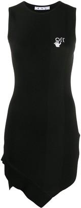 Off-White Logo-Print Asymmetric-Hem Dress