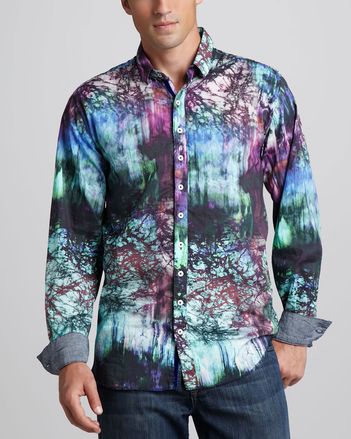 Arnold Zimberg Abstract-Print Sport Shirt, Violet/Turquoise