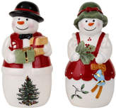 Spode Christmas Tree Figural 2 Piece Mr. and Mrs. Snowman Salt and Pepper Set