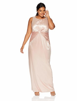 Adrianna Papell Women's Plus Size Halter Twisted Waist Column Long Dress