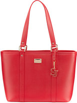 St. John Textured Faux-Leather Zip Tote Bag