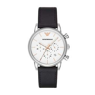 Emporio Armani Men's Stainless Steel Analog-Quartz Watch with Leather Strap