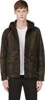 Moncler Green Camo Print Hooded Jacket