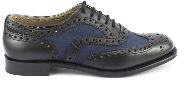 Church's Burwood Black Leather And Navy Canvas