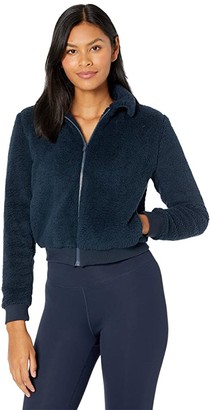 Beyond Yoga All Time Bomber Jacket (Nocturnal Navy Sherpa) Women's Clothing