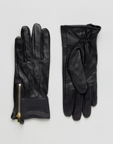 Oasis Real Leather Gloves With Patch Detail