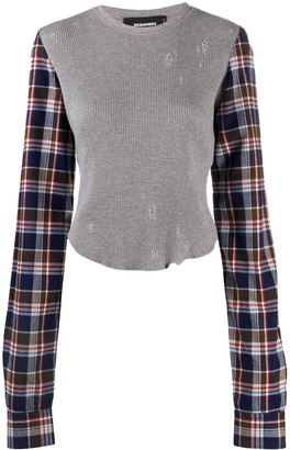 DSQUARED2 Plaid Sleeved Distressed Top