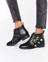 Faith Brixton Stud Strap Flat Ankle Boots