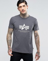 Alpha Industries T-shirt With Logo In Regular Fit Grey