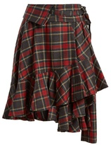 Junya Watanabe Tartan-checked ruffled-hem wool skirt