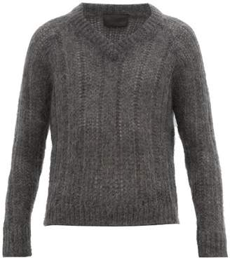 Prada Open Knit Mohair Blend Sweater - Mens - Grey