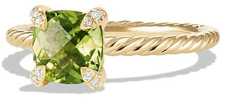 David Yurman Ch'telaine Ring with Peridot and Diamonds in 18K Gold
