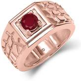 Gem Stone King 0.56 Ct Round SI1/SI2 Ruby 18K Rose Gold Plated Silver Men's Solitaire Ring