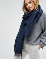 Pieces Woven Scarf with Tassels in Navy