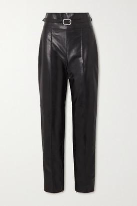 Alexandre Vauthier Crystal-embellished Belted Leather Straight-leg Pants - Black