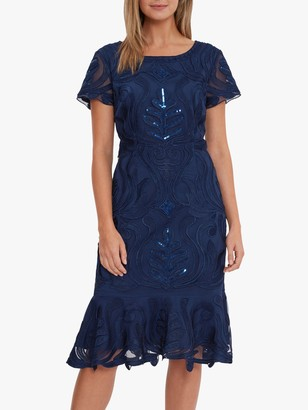 Gina Bacconi Liori Embroidered Shift Dress, Navy