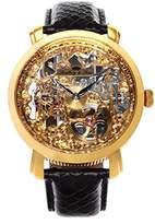 Lindberg & Sons SK14H060 - wrist watch for men - skeleton - automatic movement analog display - golden dial - black leather bracelet
