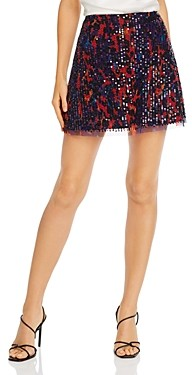 French Connection Inari Embellished A-Line Mini Skirt