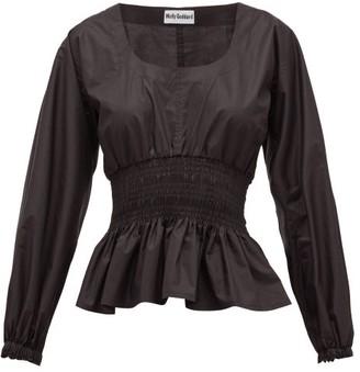 Molly Goddard Lili Shirred Cotton-paper Top - Black