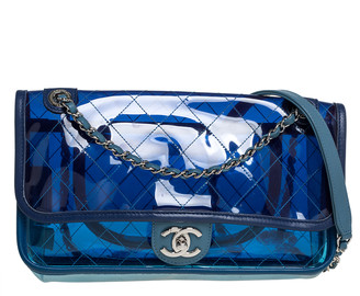 Chanel Two Tone Blue Quilted PVC and Leather Medium Coco Splash Flap Bag