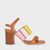 Paul Smith Women's Tan Colour-Block Leather 'Constantina' Heeled Sandals