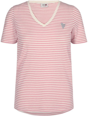 Mos Mosh - Kenia Glam Stripe V Neck T Shirt in Sugar Coral 125830 - XS . | cotton | coral pink - Coral pink