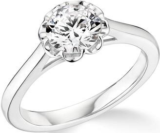 9ct White Gold 1ct Diamond 8 Petal Star Design Solitaire Ring