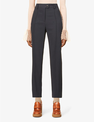 See by Chloe Belted high-rise woven trousers