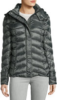French Connection Quilted Puffer Hooded Coat, Loden