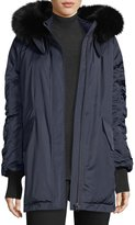 Derek Lam 10 Crosby Satin Ruched-Sleeves Anorak Jacket w/ Fox Fur