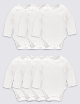 Marks and Spencer 7 Pack Flat Seams Pure Cotton Bodysuits