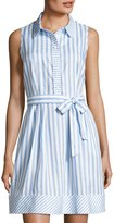 Neiman Marcus Striped Sleeveless Linen Dress, Blue/White