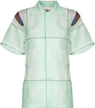 Bode embroidered linen Bowling shirt