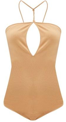 Bottega Veneta Cross-back Halterneck Cashmere-blend Bodysuit - Camel