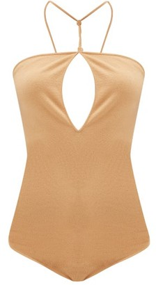 Bottega Veneta Cross-back Halterneck Cashmere-blend Bodysuit - Womens - Camel
