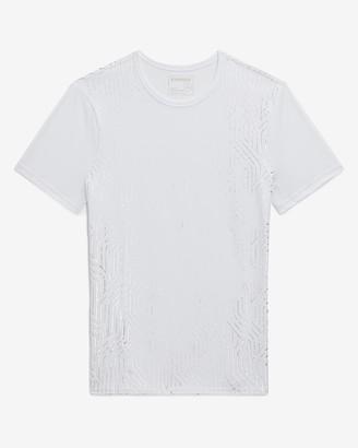 Express White Metallic Geometric Moisture-Wicking Graphic T-Shirt