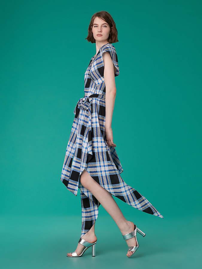 Diane von Furstenberg Asymmetric Sleeve Scarf Dress