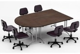 Meeting Seminar 3 Piece Half-Round Conference Table Set Team Tables Top Finish: Java