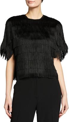 Lela Rose Embroidered Fringe Fluid Crepe Short-Sleeve Top